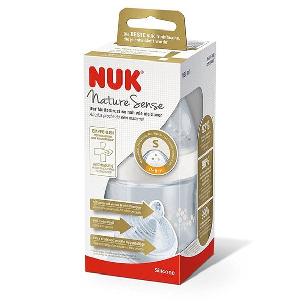 Bình sữa NUK PP Nature Sense 260ml núm ty Silicone S2-M