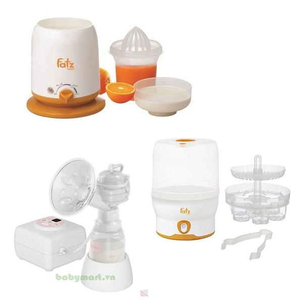 Combo Máy hâm sữa Fatzbaby V471 Máy hút sữa Unimom điện đơn V534 Máy tiệt trùng bình sữa Fatzbaby V509