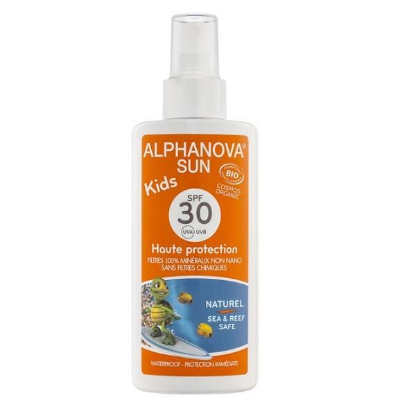 Kem chống nắng hữu cơ trẻ em Alphanova SPF30 dạng xịt 125g