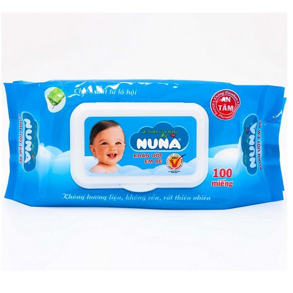 Khăn ướt 100 tờ không mùi Nuna
