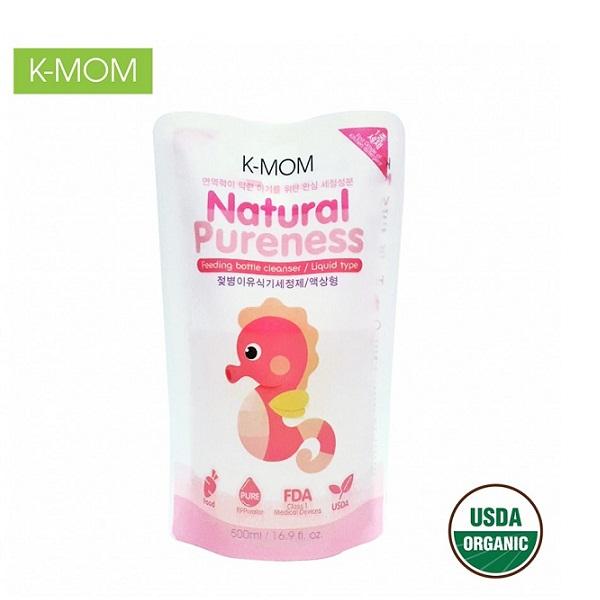 Nước rửa bình & rau quả chiết xuất thảo mộc hữu cơ K-Mom (túi 500ml)