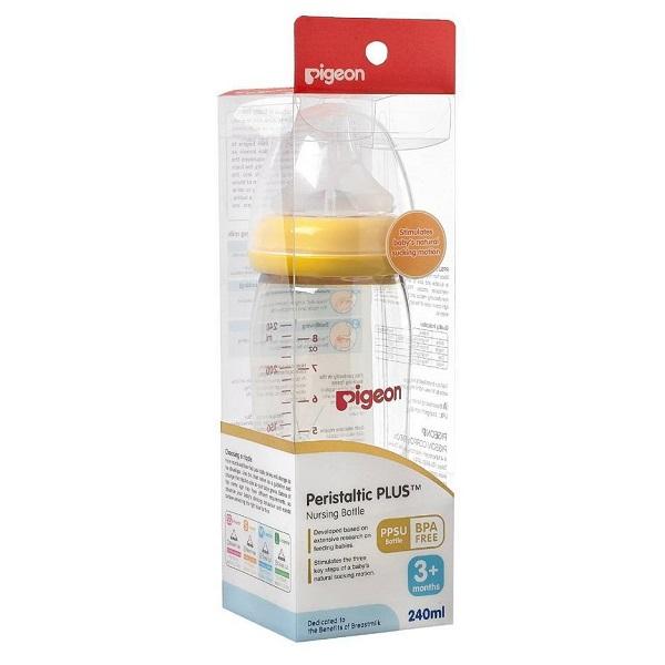 Bình sữa Pigeon nhựa PPSU Plus cổ rộng 240ml