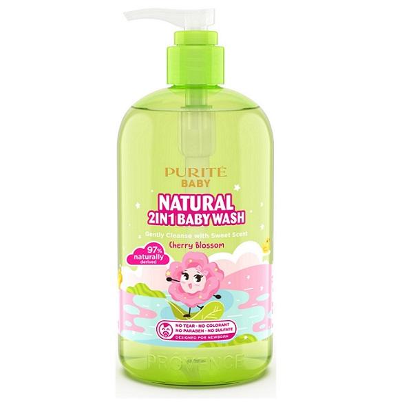 Sữa tắm gội thiên nhiên hoa Anh Đào Purite baby 500ml