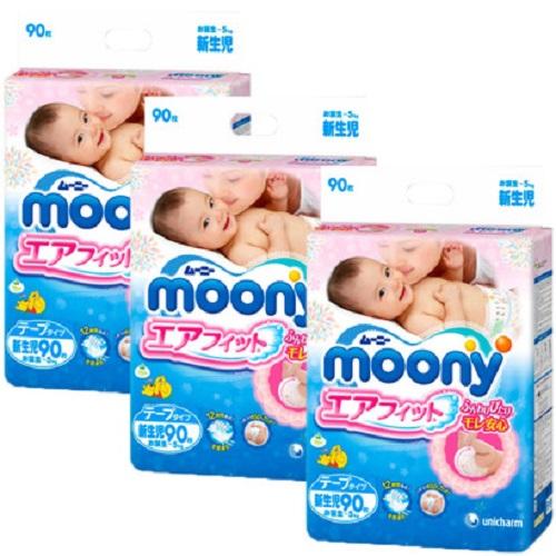 Bỉm dán Moony Newborn 90 miếng- Tặng khăn tắm  Nhật Bản