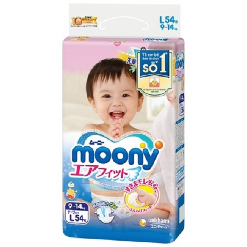 Bỉm Moony dán L54- Tặng khăn tắm Nhật Bản