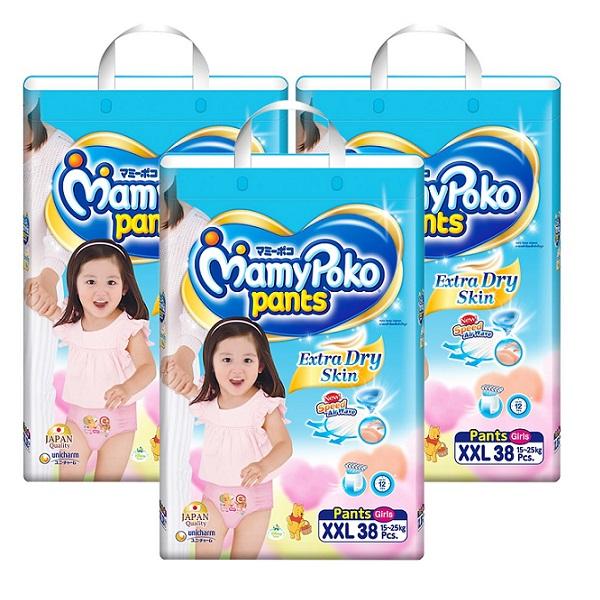 Tã Mamypoko quần XXL38 bé gái