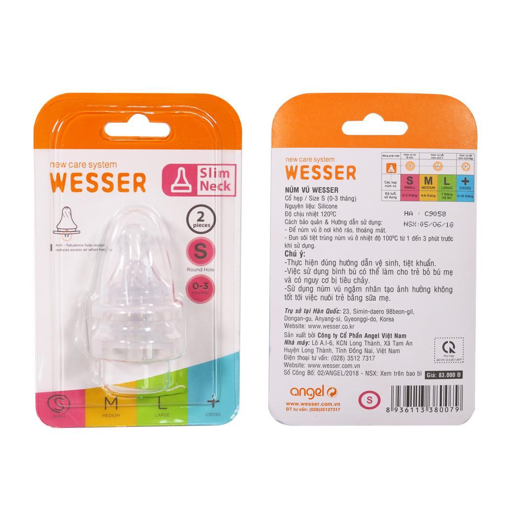 Ty bình sữa Wesser cổ thường size S vỉ 2 cái
