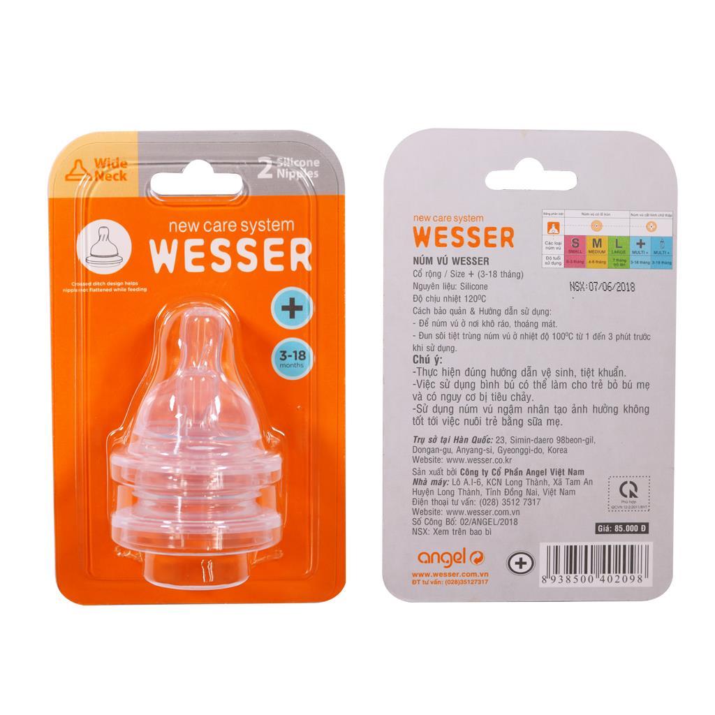 Ty bình sữa Wesser cổ rộng size plus vỉ 2 cái