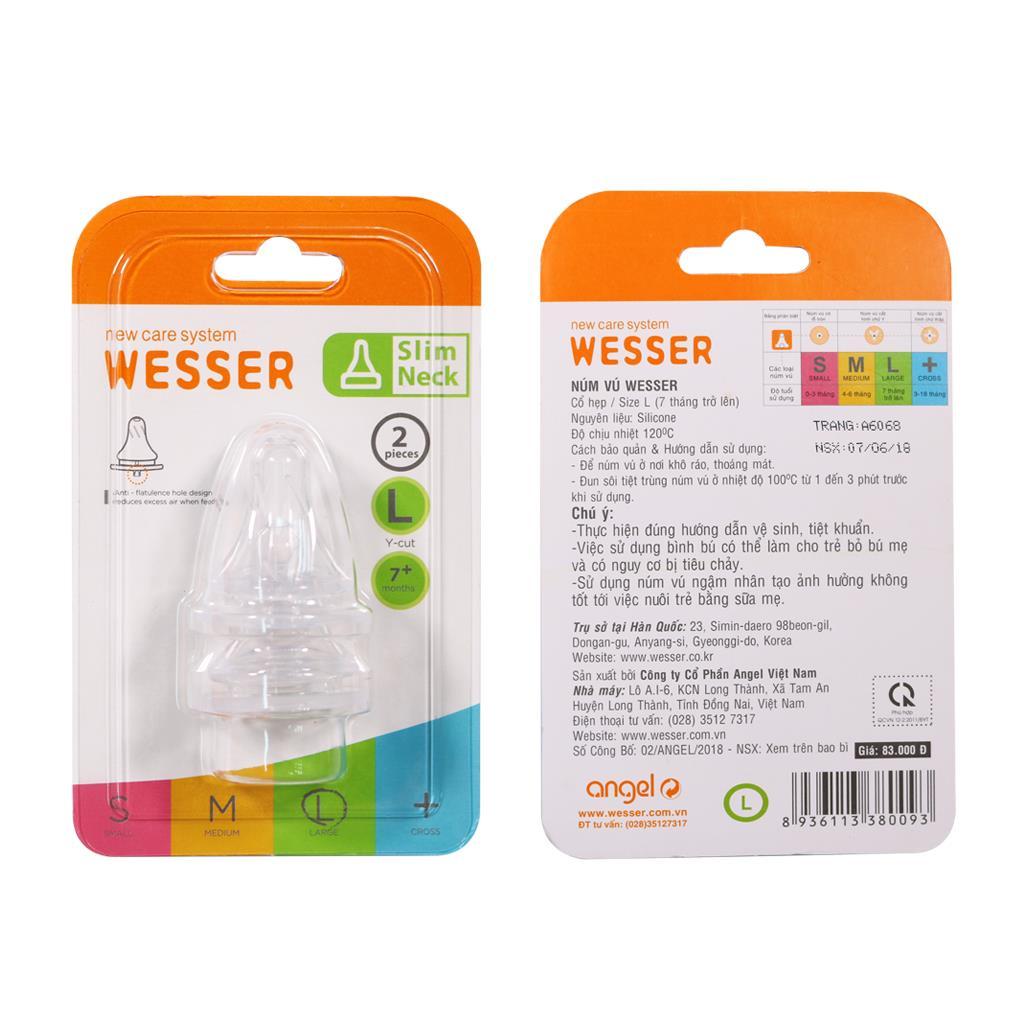 Ty bình sữa Wesser cổ thường size L vỉ 2 cái