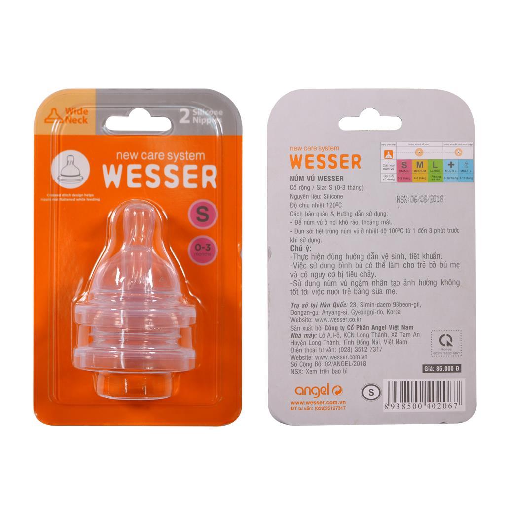 Ty bình sữa Wesser cổ rộng size S vỉ 2 cái