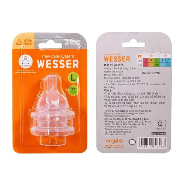 Ty bình sữa Wesser cổ rộng size L