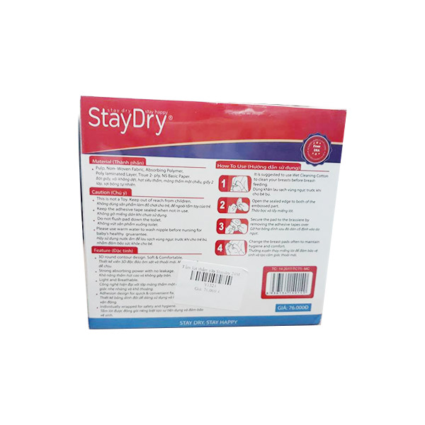 Tấm lót thấm sữa Staydry 24M