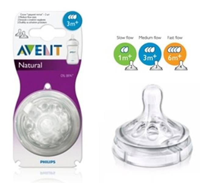 Ty bình sữa Avent Natural cổ rộng số 1 vỉ 2 cái