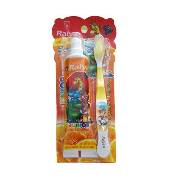 Bàn chải và kem đánh răng Raiya hương cam cho bé