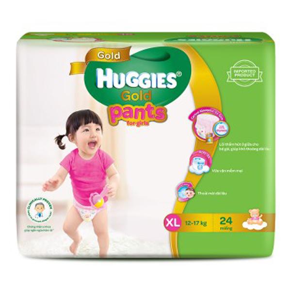 Bỉm Huggies Gold quần XL24 (bé gái)
