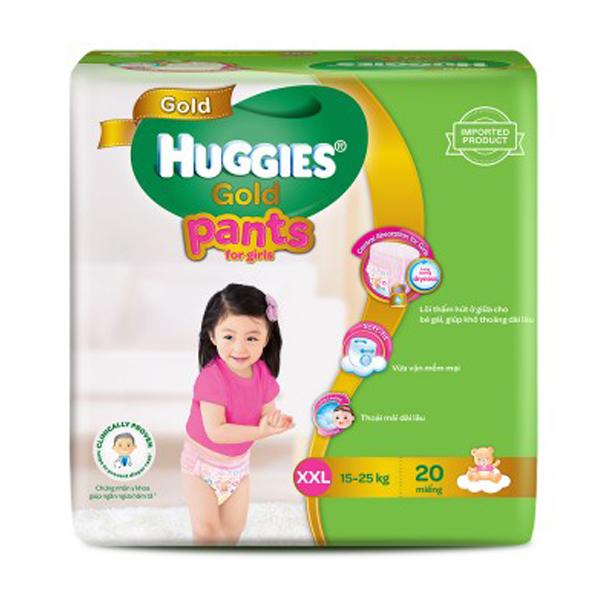 Bỉm Huggies Gold quần XXL20 (bé gái)