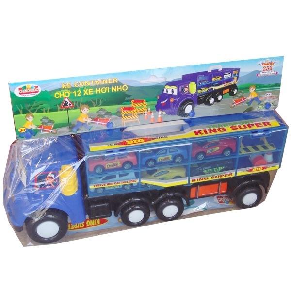 Bộ xe container và 12 xe hơi nhỏ cho bé