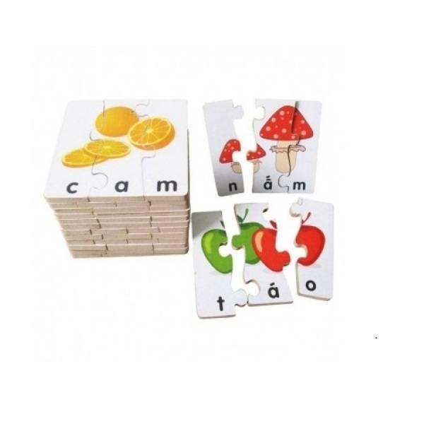 Đồ chơi gỗ - Bộ ghép hình học chữ 1