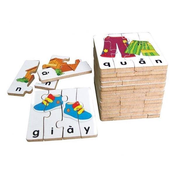 Đồ chơi gỗ - Bộ ghép hình học chữ 2 66442