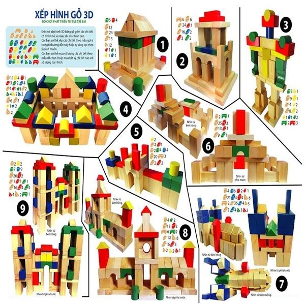 Đồ chơi gỗ - Bộ xếp hình 100 chi tiết màu