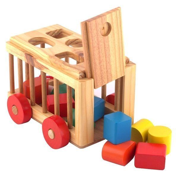 Đồ chơi gỗ - Xe cũi thả hình 5 lỗ