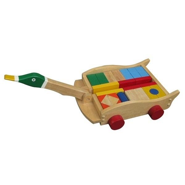 Đồ chơi gỗ - Xe vịt kéo khối