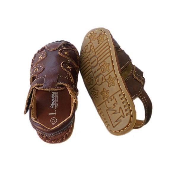 Giày da sandal cho bé trai quai gạch chéo