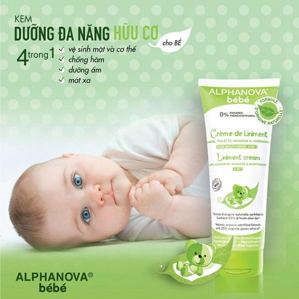 Kem dưỡng đa năng hữu cơ cho bé 4 trong 1 Liniment Cream Alphanova Bebe 200ml