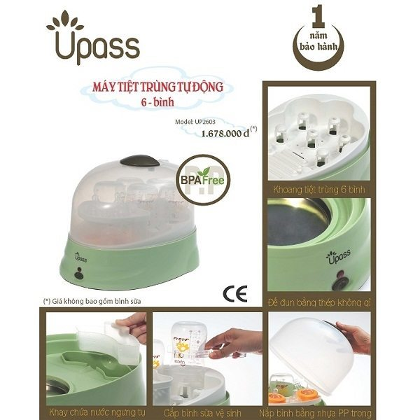 Máy tiệt trùng bình sữa Upass tự động 6 bình
