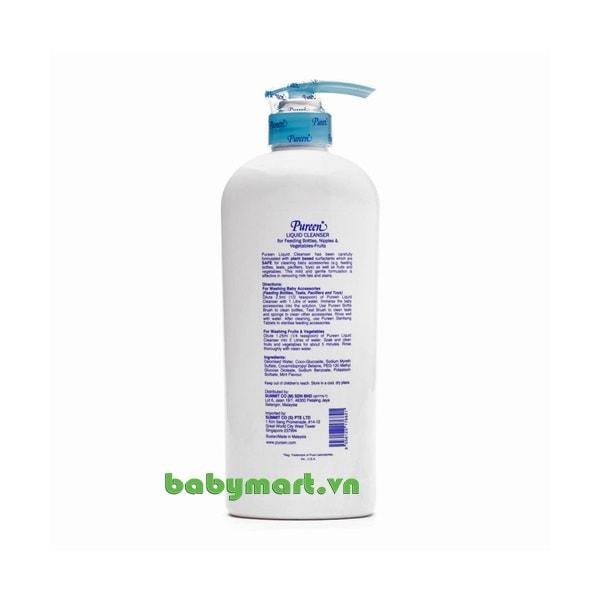 Nước rửa bình sữa Pureen hương bạc hà 750ml