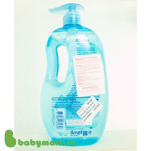 Sữa tắm gội toàn thân em bé Dnee 800ml xanh