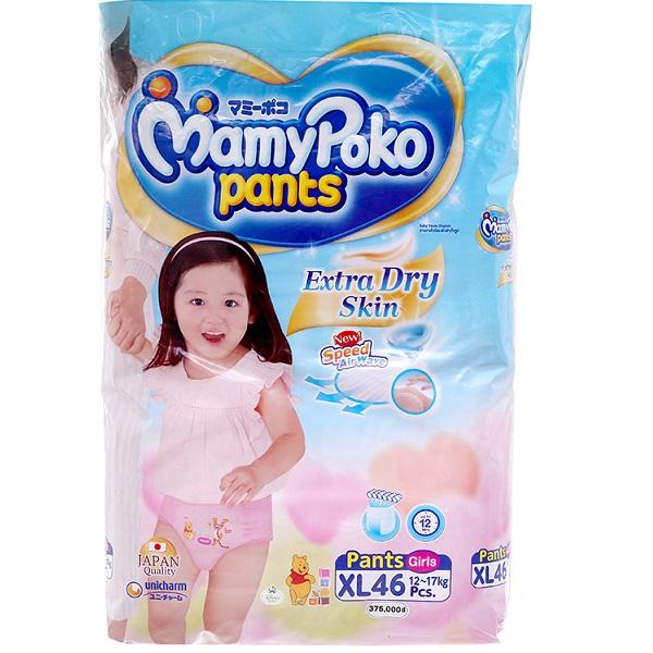 Tã Mamypoko quần XL46 bé gái