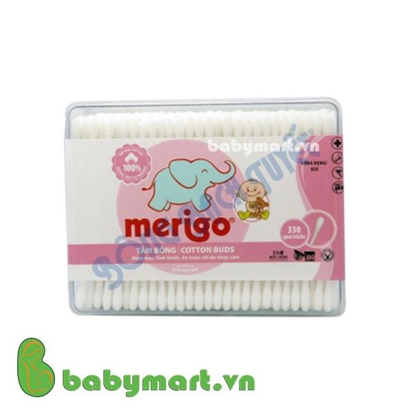 Tăm bông Merigo đầu bông nhỏ hộp vuông 330que