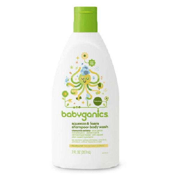 Tắm gội sơ sinh Babyganics 207ml