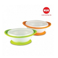 Set of 2 bowl of NUK anti-dumping with lid