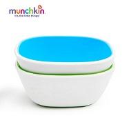 Bộ 2 bát chống trượt Munchkin (xanh lá-xanh lơ)