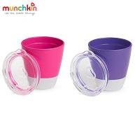 Bộ 2 cốc có nắp Munchkin (hồng-tím) MK11489