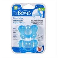 Bộ 2 ty ngậm Dr. Brown's chống vẩu 100% silicone màu xanh 0+