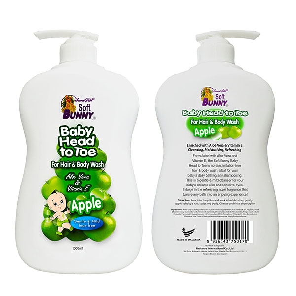 SOFT BUNNY Baby Head to Toe For Hair & Body Wash Apple 1L