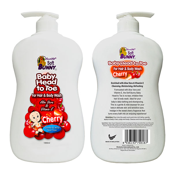 SOFT BUNNY Baby Head to Toe For Hair & Body Wash Cherry 1L