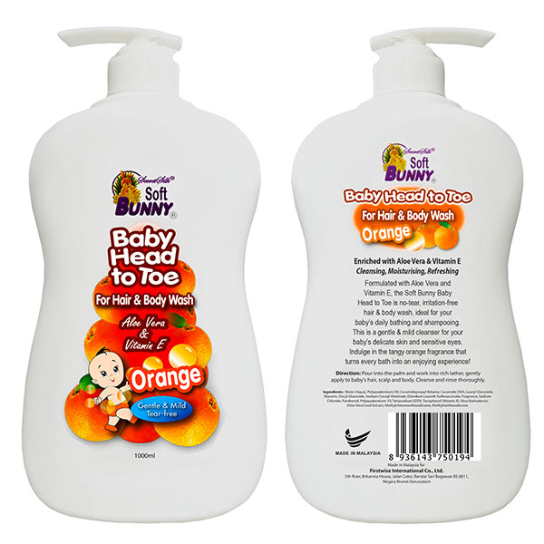 SOFT BUNNY Baby Head to Toe For Hair & Body Wash Orange 1L