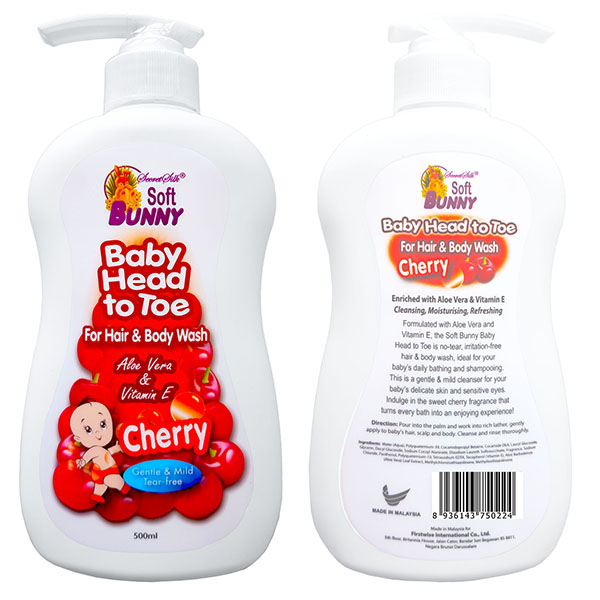 SOFT BUNNY Baby Head to Toe For Hair & Body Wash Cherry 500ml