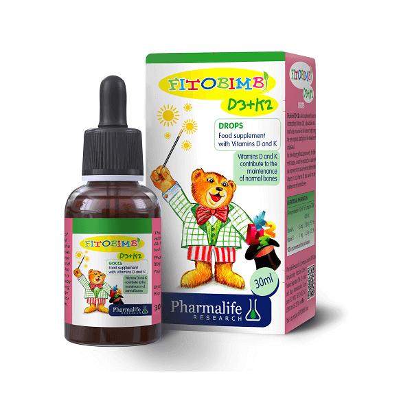 Pharmalife Fitobimbi D3K2 giúp xương và răng chắc khỏe, Lọ nhỏ giọt 30ml