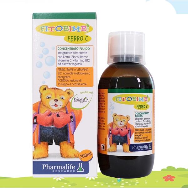 Pharmalife Fitobimbi FERRO C bổ sung sắt, kẽm hữu cơ, Chai 200ml