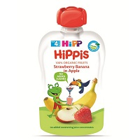 Hipp crushed fruit bag 100g strawberry, banana, apple