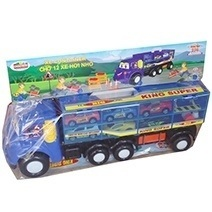 Container Truck With 12 Cars Set