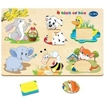 Wooden Cartoon Animal Puzzle Toys  With 6 Basic Pictures