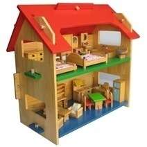 Fully Furnished Wooden Dollhouse