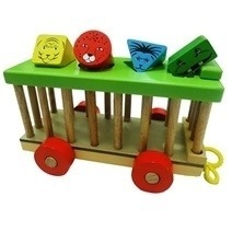 Wooden Sorting Animal Shaped Car kennel