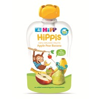 Hipp crushed fruit bags 100g apples, pears, bananas